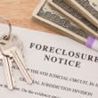House Keys, Money and Foreclosure Notice — Stock Photo