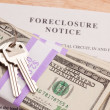 Royalty-Free Stock Photo: House Keys, Money and Foreclosure Notice
