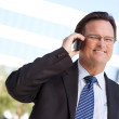 Smiling Businessman Using Cell Phone — Stock Photo