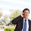 Foto Stock: Stressed Businessman Talks on Cell Phone