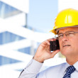 Contractor in Hardhat and Tie on Phone — Stock Photo