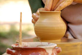 Hand made pottery being manufactured — Stock Photo