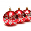 Christmas decorations three red balls — Stock Photo