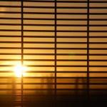 Windows blinds with sunrise — Stock Photo