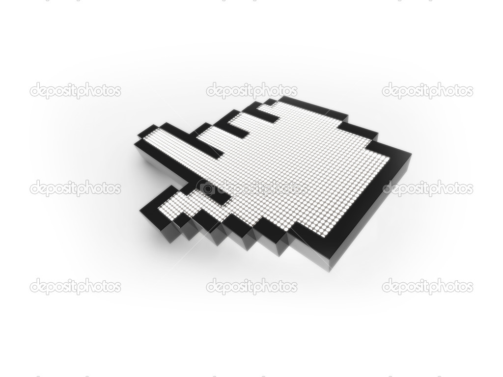 3D mouse pointer illustration. Computer generated rendering of a hand mouse cursor. The image is set on a white background, with a subtle shadow below the curso — Stock Photo #2334480