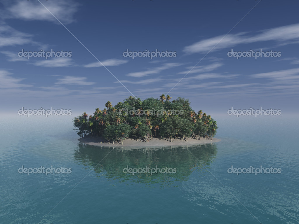 Tropical desert island. Photo-realistic computer generated illustration of a small desert island with coconut palm trees. Scene associated with relaxing; holida — Stock Photo #2334575
