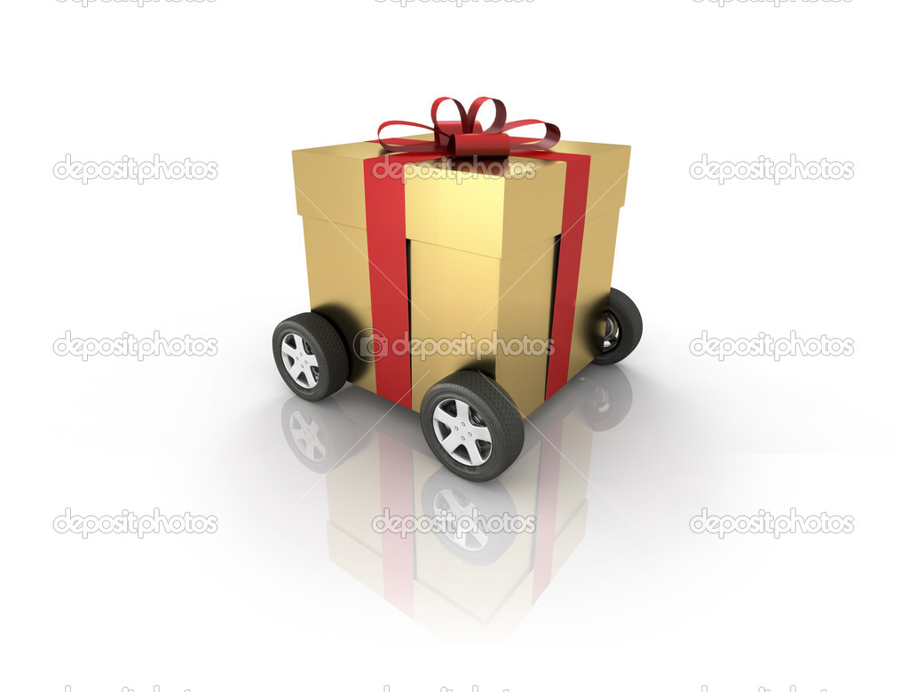Gift box on wheels. Computer generated image which could be used to represent online shopping, home delivery etc. — Stock Photo #2334660
