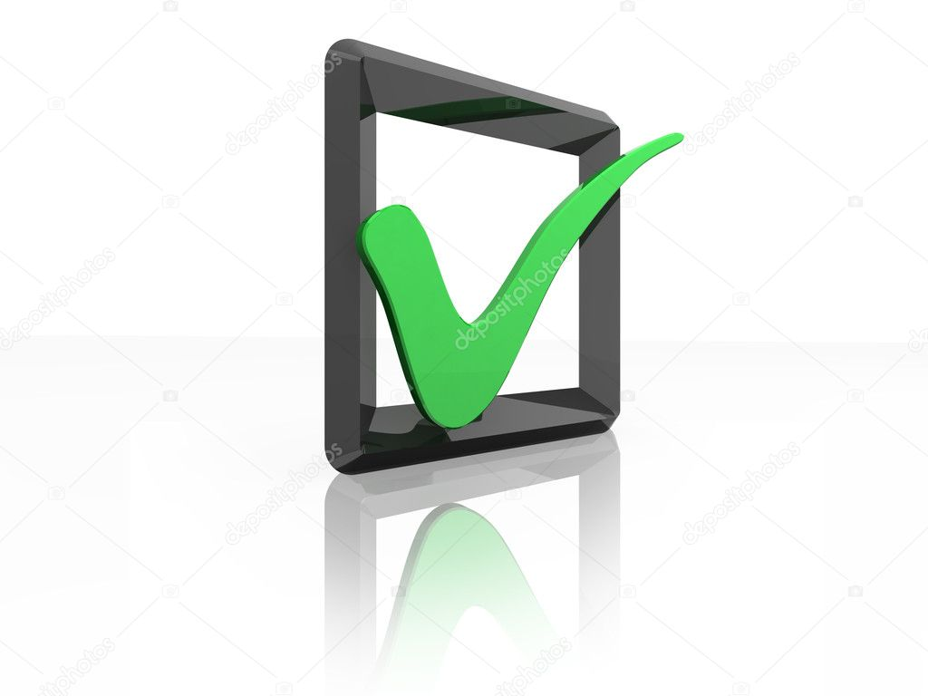 3D check box illustration with green tick. (Please see my portfolio for others in the series)  Stock Photo #2335514