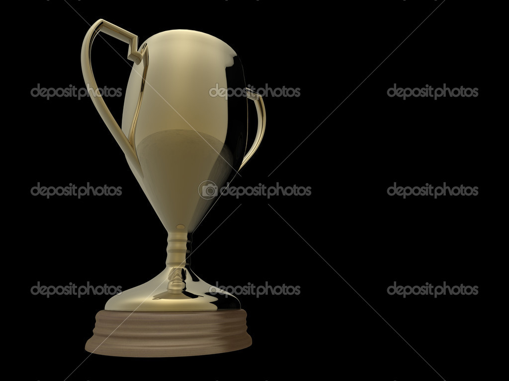 Gold trophy on black background — Stock Photo © aspect3d ...