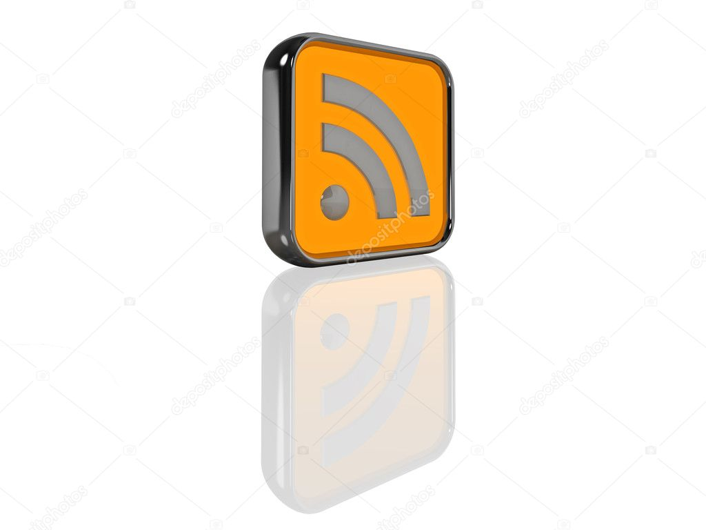 Computer generated illustration of an illuminated 3D RSS feed icon. Isolated on white with reflection. — Stock Photo #2341447