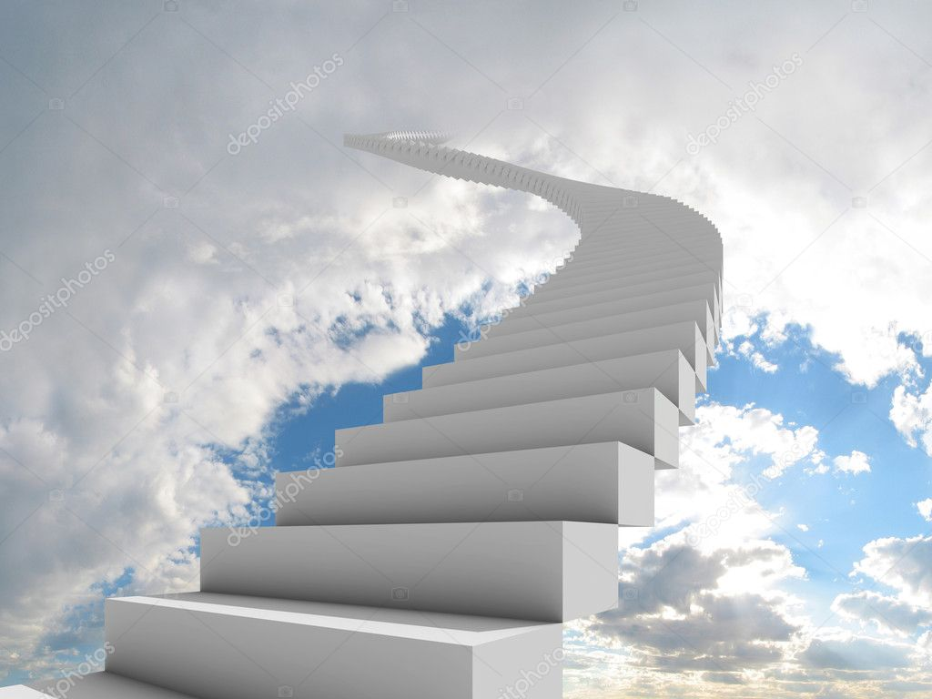 Illustration of a long, winding stairway leading to the clouds. Could represent a career, success, a journey, or going to heaven.  Foto Stock #2403717