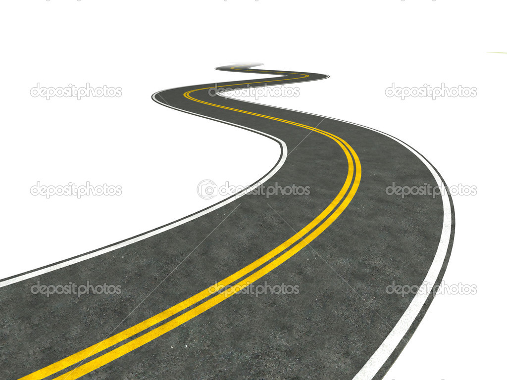 Illustration of a long, winding road disappearing into the distance.  Photo #2403721