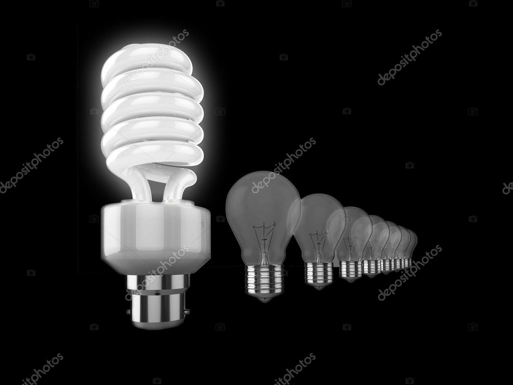 Realistic illustration of a row of light bulbs, the nearest to the camera is a bright energy saving bulb, the others are old fashioned bulbs. Could be used to r — Stock Photo #2403948