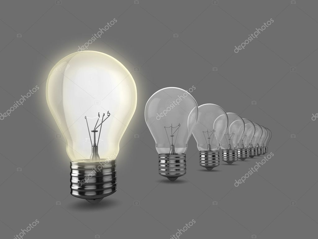 Realistic 3d illustration of a row of light bulbs, the nearest to the camera is on. Could be used to represent an idea, inspiration, or environment issues. — Stock Photo #2403961