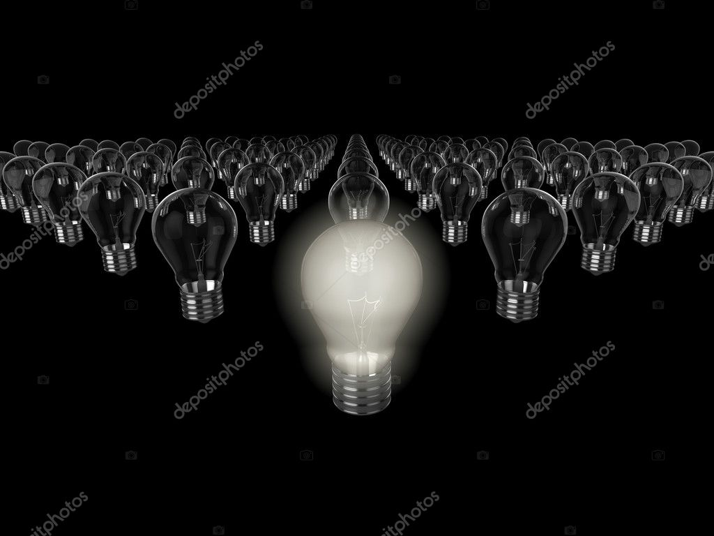Realistic 3d illustration of rows of light bulbs, the nearest to the camera is switched on. Could be used to represent an idea, inspiration, or environment issu — Stock Photo #2403975