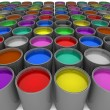 Multi color paint cans - Stock fotografie