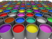 Multi color paint cans — Stock Photo
