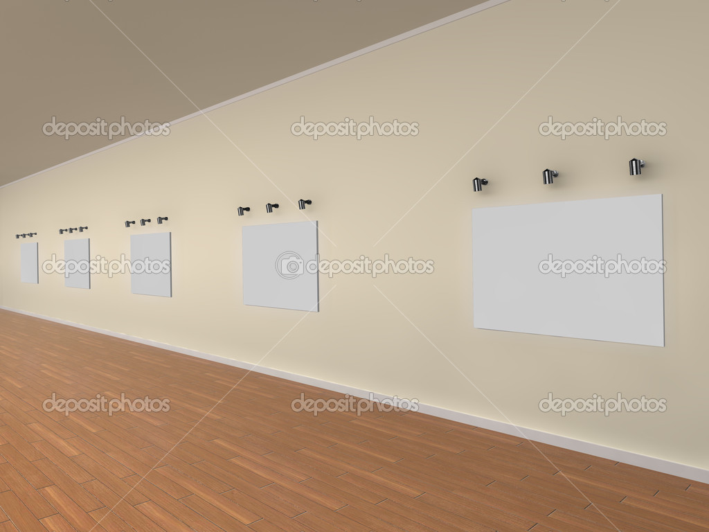 3d illustration of a gallery of blank canvases - ready for your own artwork or designs. — Stock Photo #2429046
