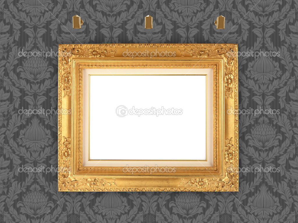 Decorative picture frame and retro wallpaper, with blank space for your own artwork, design or text.  Stock Photo #2429069