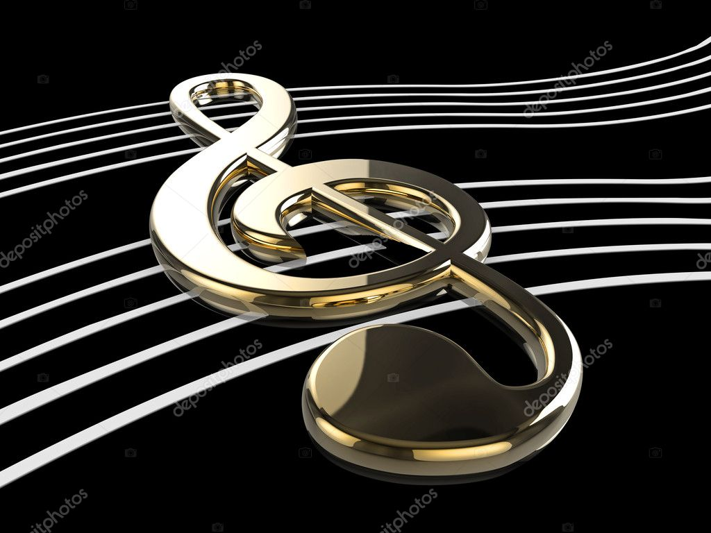 High quality illustration of a musical G Clef or Treble Clef symbol  Foto de Stock   #2429294