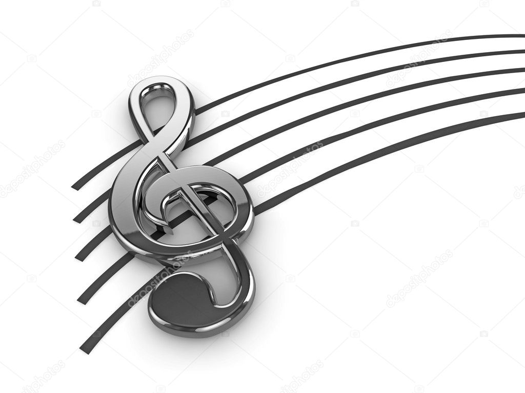 High quality illustration of a silver musical G Clef or Treble Clef symbol — Stock Photo #2429326