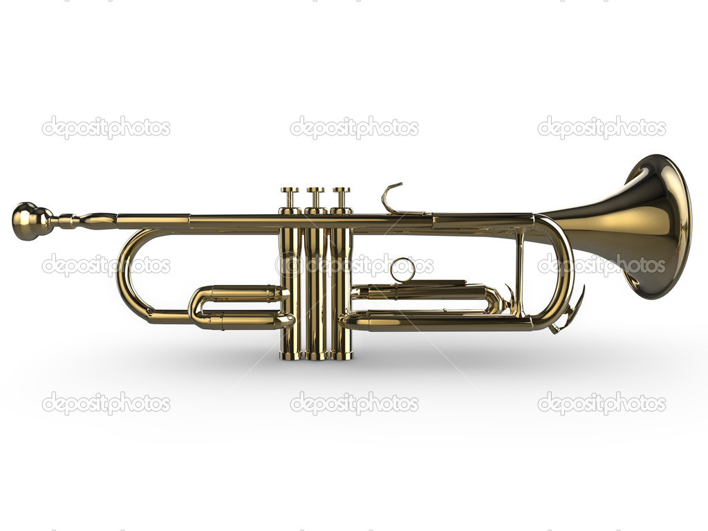 Realistic illustration of a shiny trumpet, isolated on a white background — Stock Photo #2429439