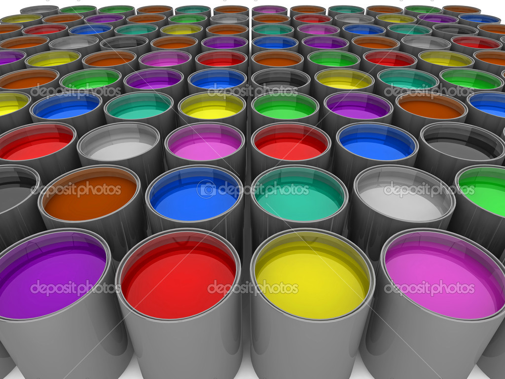 3d illustration of rows of multi-color paint cans — Stock Photo #2429444