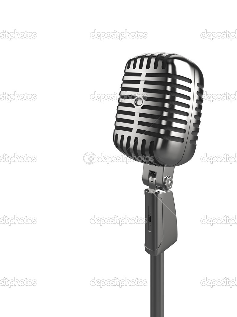 High quality illustration of a retro microphone isolated on a white background. Please see my portfolio for alternative views. — Stock Photo #2454811