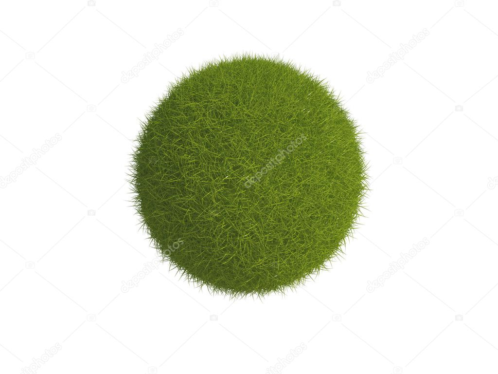 Illustration of a sphere or globe covered in grass, isolated on a white background. — Stock Photo #2489781