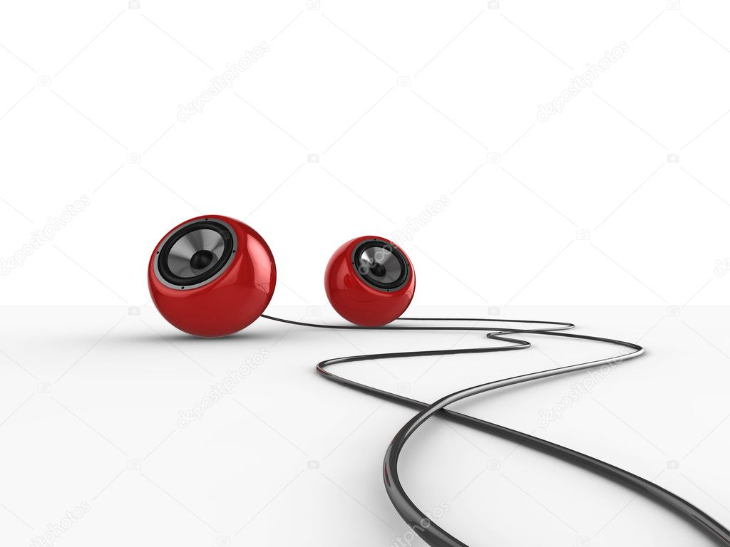 Illustration of a pair of glossy round speakers with wires, isolated on a white background. — Stock Photo #2489820