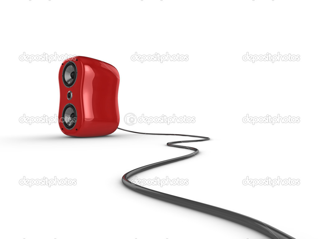 Illustration of a red glossy speaker with wire, isolated on a white background. See my portfolio for more in the series. — Stock Photo #2489843