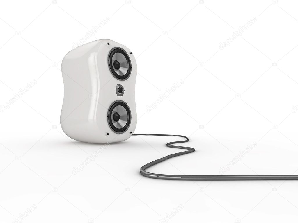 Illustration of a white glossy speaker with wire, isolated on a white background. See my portfolio for more in the series.  Stock Photo #2489850