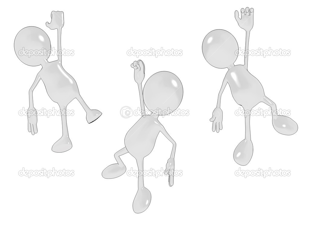 Three shiny cartoon characters for you to dangle from your design elements. See my portfolio for more in the series. — Stock Photo #2489954