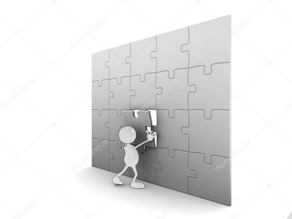 Illustration of a 3d cartoon character completing a puzzle. Please see my portfolio for more in the series. — Stock Photo #2515985