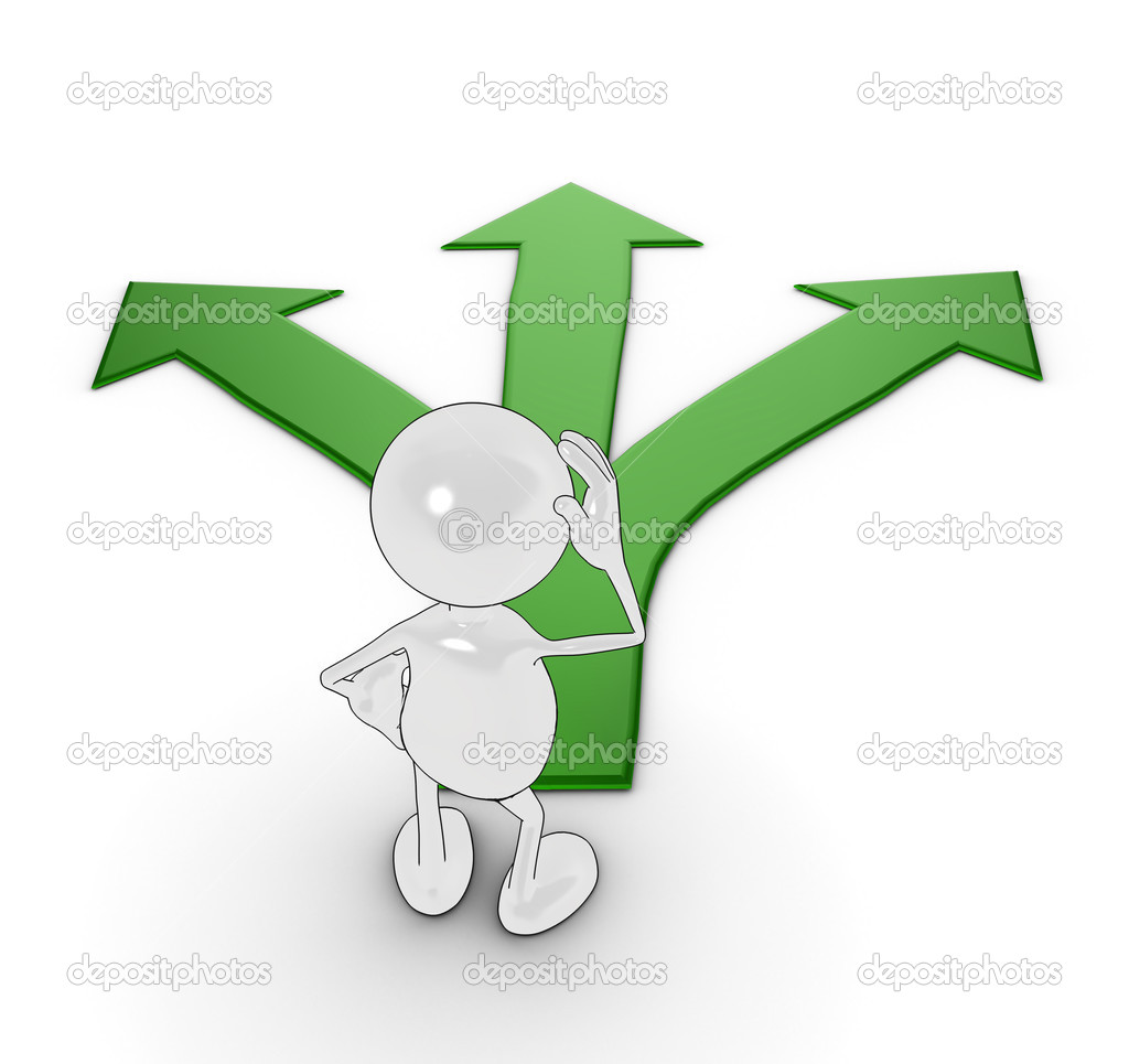 3d cartoon character choosing which path to take. Please see my portfolio for more in the series. — Stockfoto #2516138
