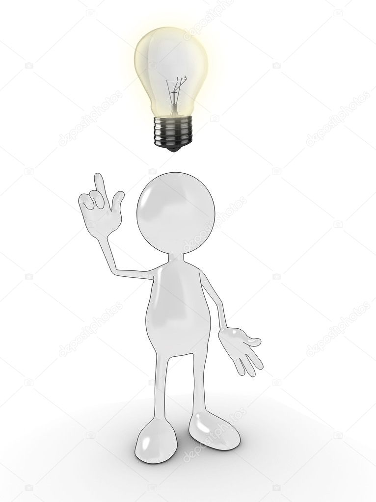 3d cartoon character with an idea lightbulb above his head. Please see my portfolio for more in the series. — Stock Photo #2570800