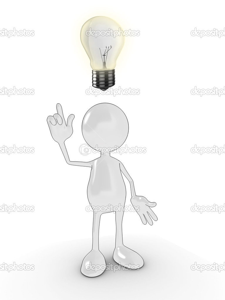 3d cartoon character with an idea lightbulb above his head. Please see my portfolio for more in the series. — 图库照片 #2570800
