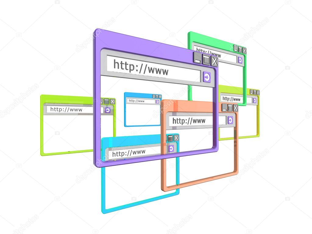 3d Illustration of internet browser windows, isolated on a white background. Part of a series of browser window, and internet concept images. — Stock Photo #2594744