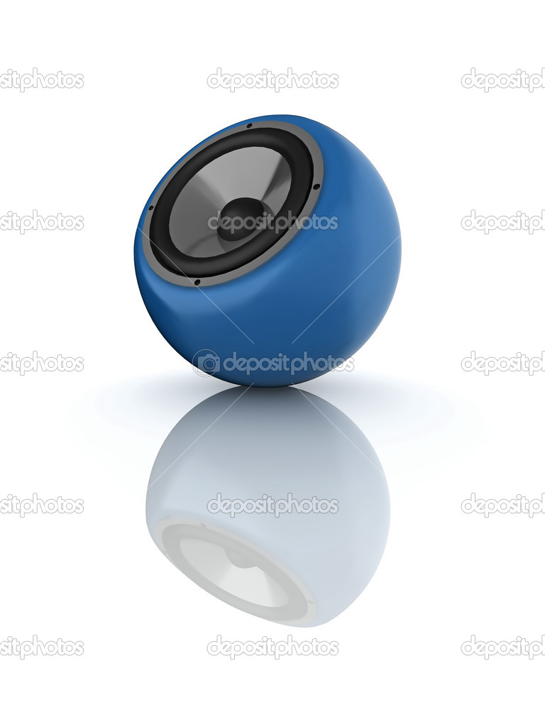 Illustration of a glossy round speaker, isolated on a white background.  Stock Photo #2674592