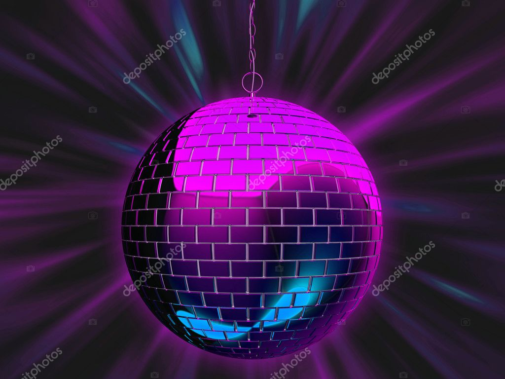3d illustration of a disco mirrorball with light rays.  Stock Photo #2674790