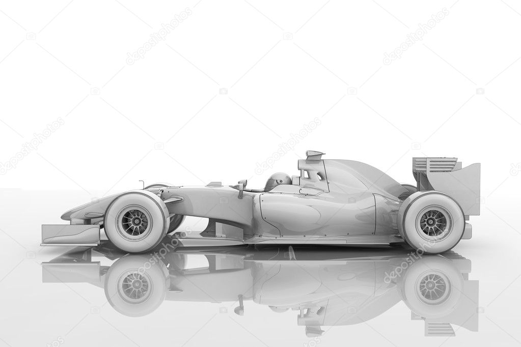 Illustration of a shiny racing car in a 'blueprint' style  Stock Photo #2694355