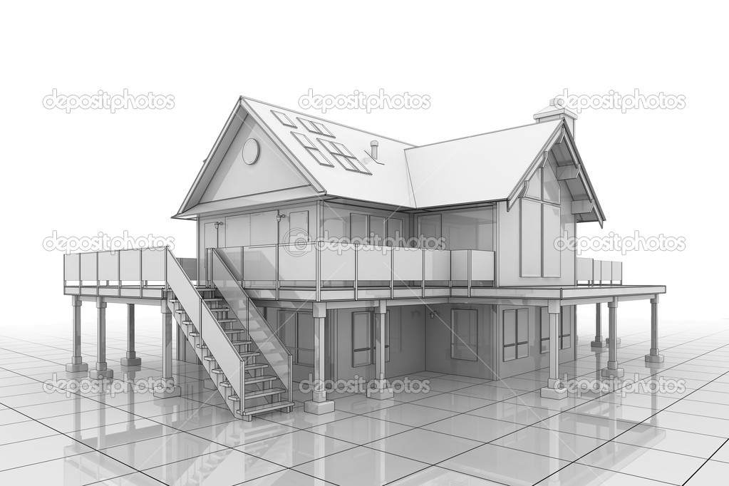 3D illustration of a large house in blueprint style  Stock Photo #2694410