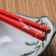Chopstick on a bowl — Stock Photo