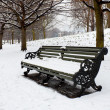 A lonely bench covered in deep snow — 图库照片