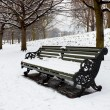 Stock Photo: Lonely bench covered in deep snow