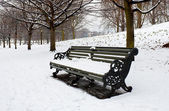 A lonely bench covered in deep snow — Stock Photo