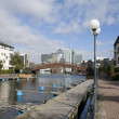 Canary Wharf and the Dosclands canals — Stock Photo