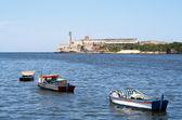 Fishing boats in the bay of Havana — Stock Photo