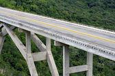 Lång bro över en grön dal — Stockfoto