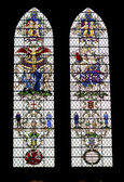 Colored glass windows in the Salisbury Cathedra — Stock Photo